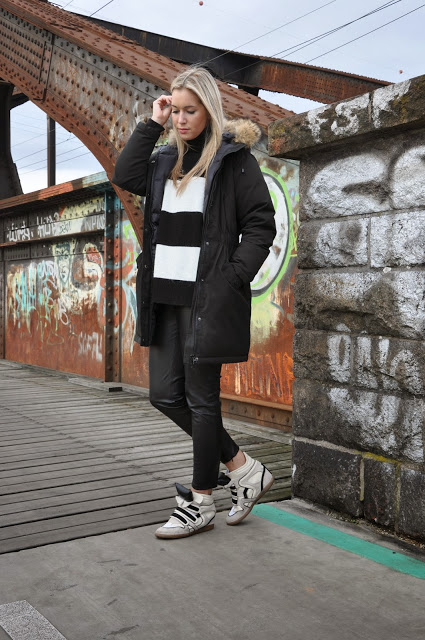 Sneaker Wedges, Fur Parka, Black and White