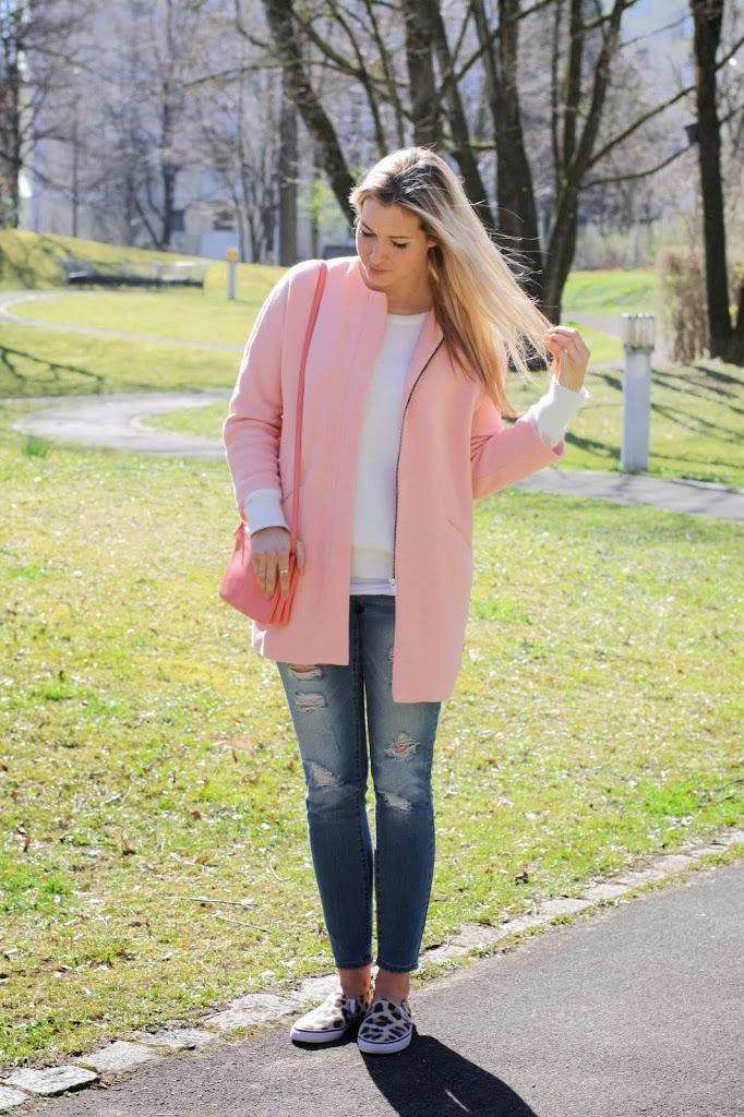 mantel rosa cardigan damen baumwolle grau bunt lang. Black Bedroom Furniture Sets. Home Design Ideas