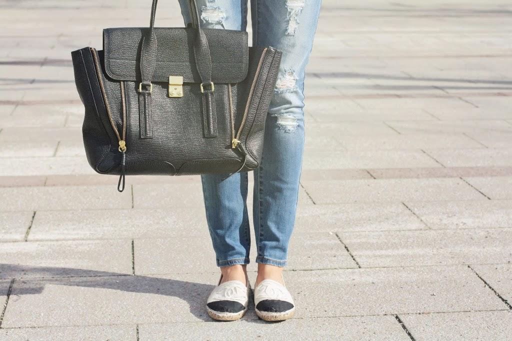 3.1 Phillip Lim Satchel Bag, Chanel Espadrilles, Used Denim, Ripped Denim