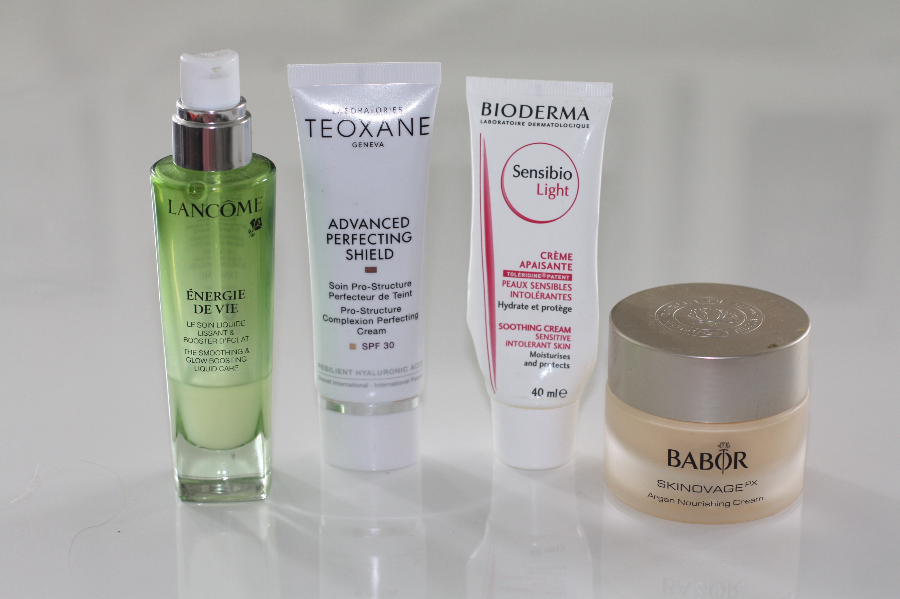 Gesichtspflege-Routine mit Lancome Energie de Vie, Teoxane Advanced Perfect Shield, Bioderma Sensibio Lieght Creme und Babor Argan Nourishing Night Creme