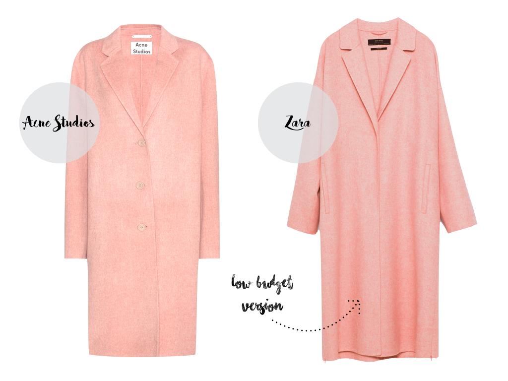 Style Twins: Acne Studios Avalon Double Mantel vs. Zara Mantel in Rosa