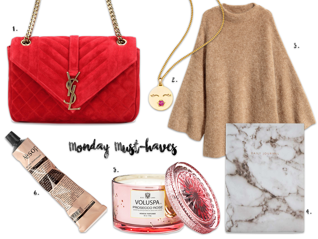 Monday Must-haves Maison Pazi Saint Laurent Bag, Aesop Hand Balm, Voluspa Prosecco, socosi Ketten, H&M Turtleneck Pullover, Daily Planer Urban Outfitters